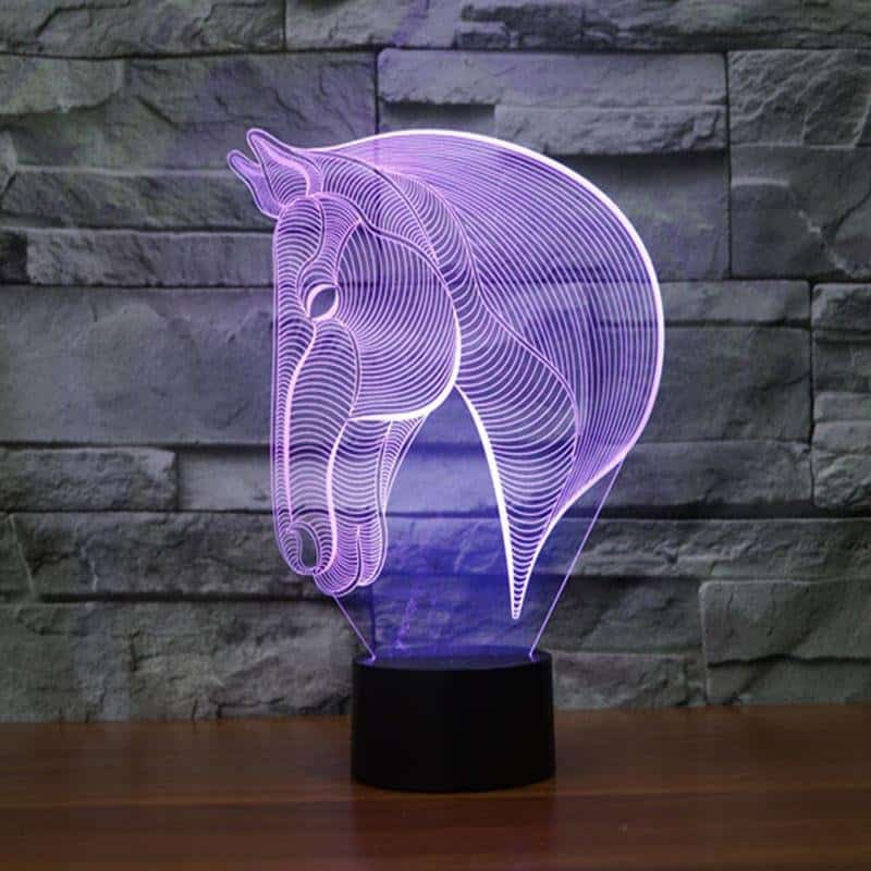 3D Illusion LED Horse Head Night Light