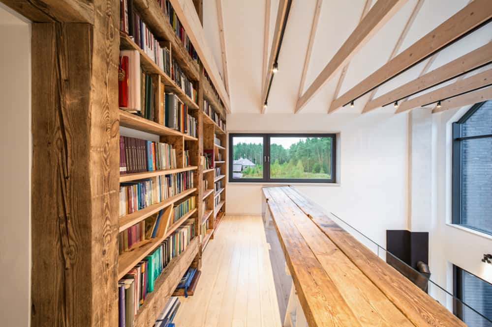 A long desk provides plenty of space to start a book club