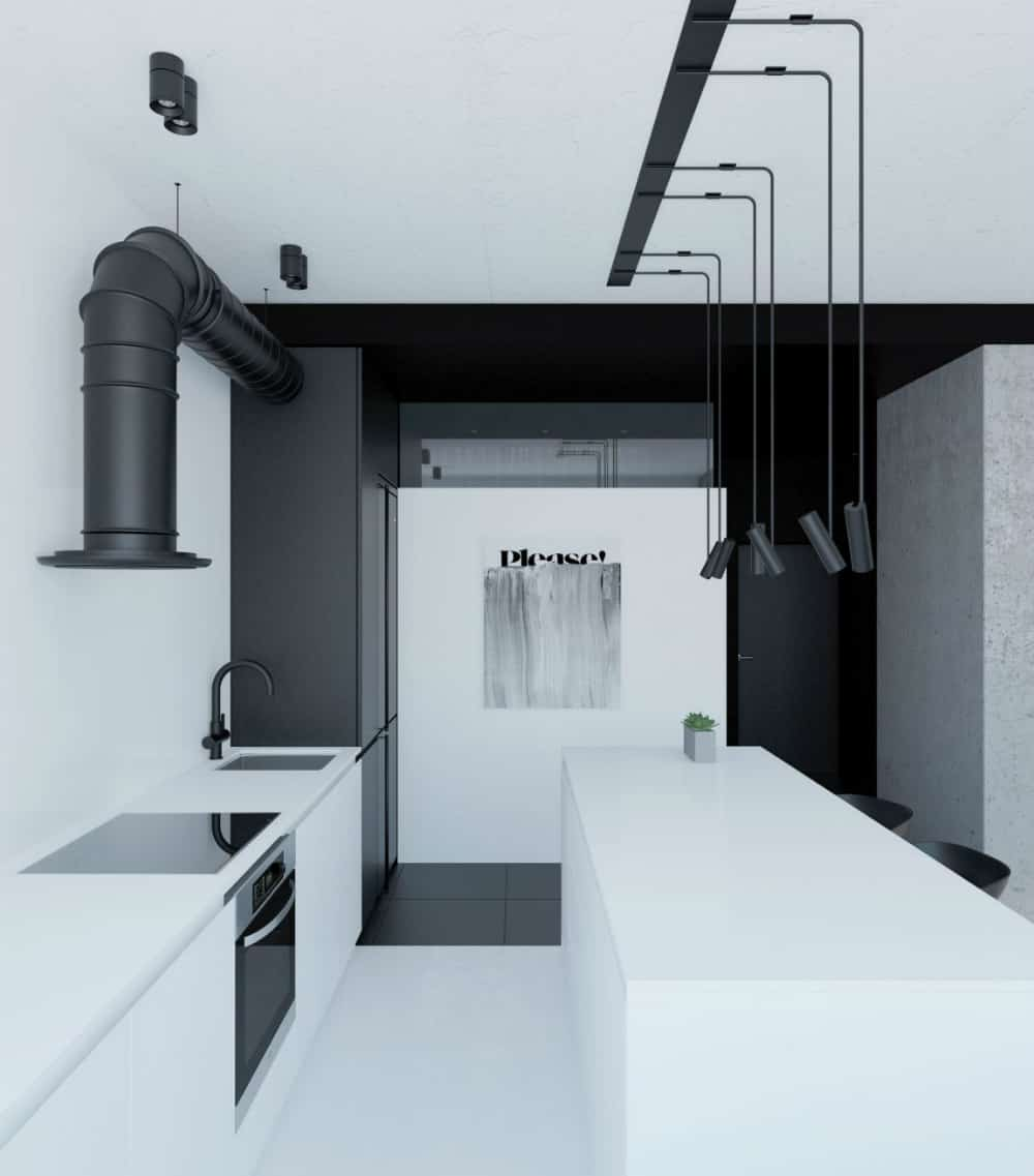 A stylish hood extractor adds to the minimal kitchen design