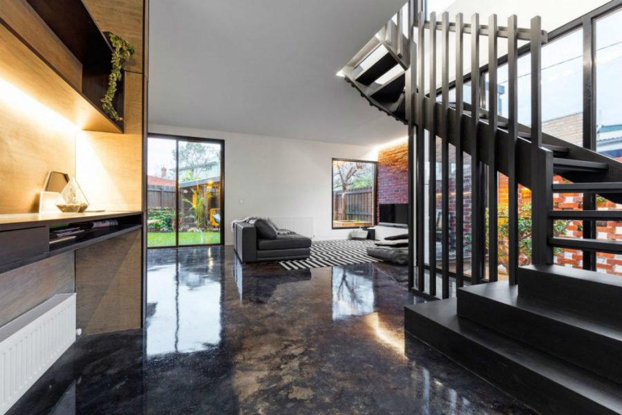 Acid-stained concrete makes for glorious flooring