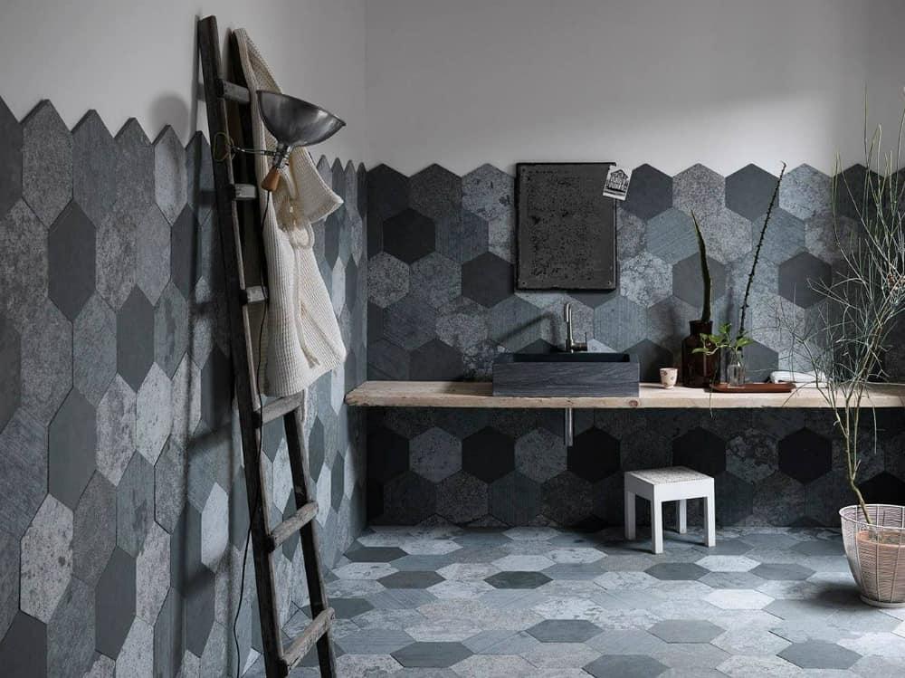 Azul Origami tiles by Artesia