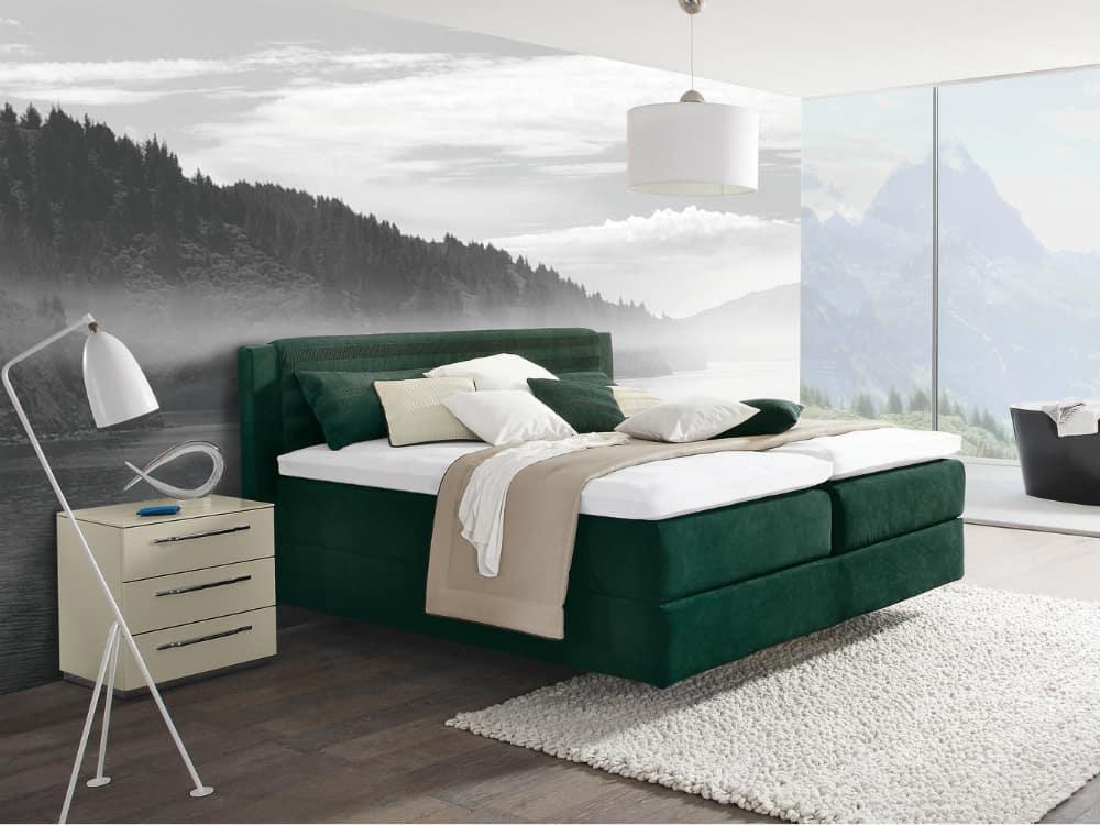 Beautiful emerald green Opuss II bed by Hülsta-Werke Hüls