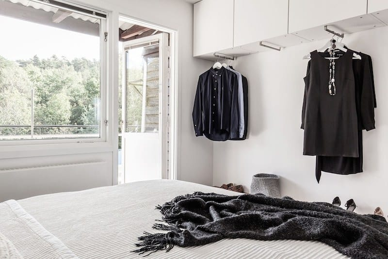 Bedroom clothes rack with cabinets