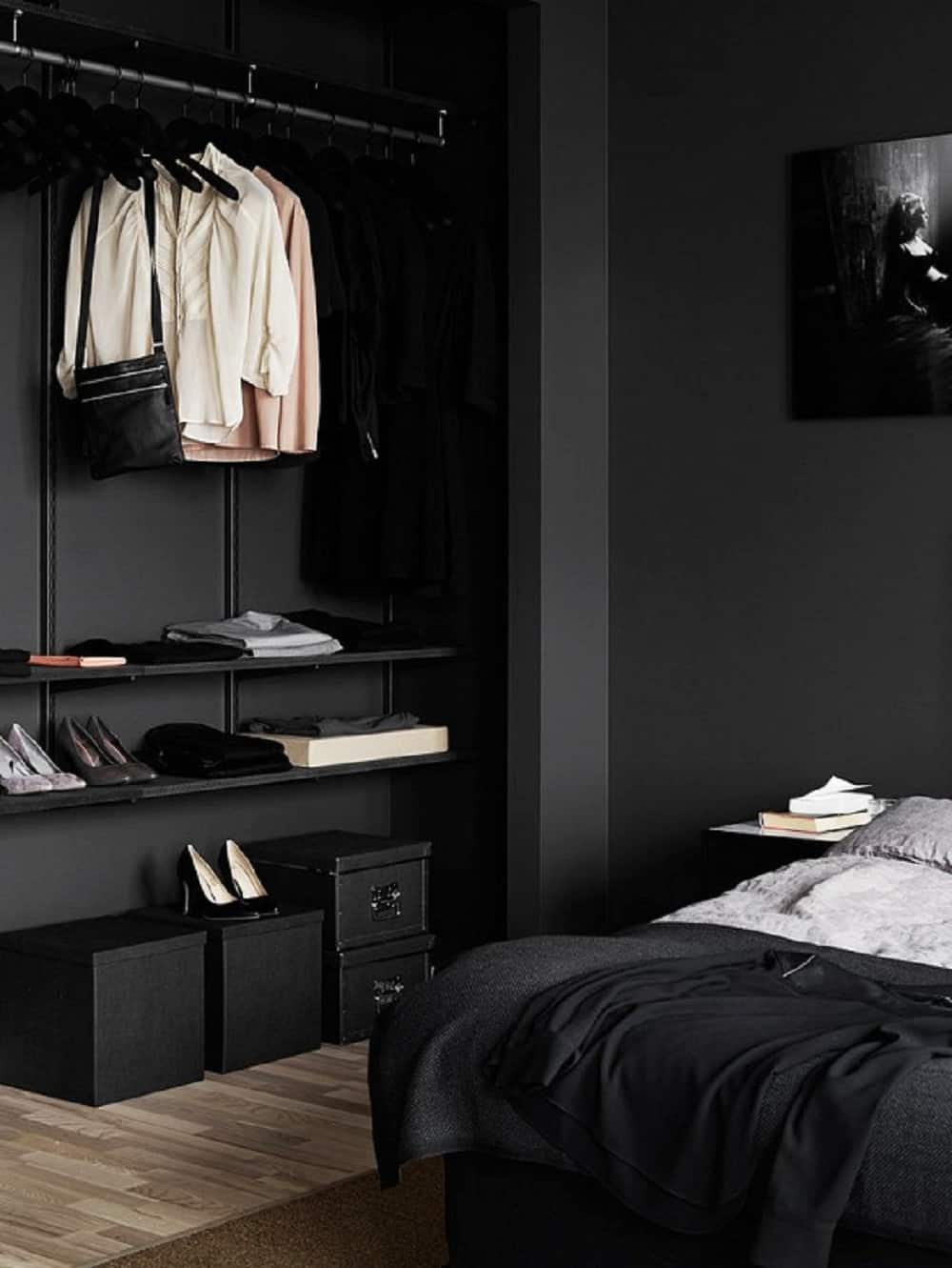 Bedroom clothes storage