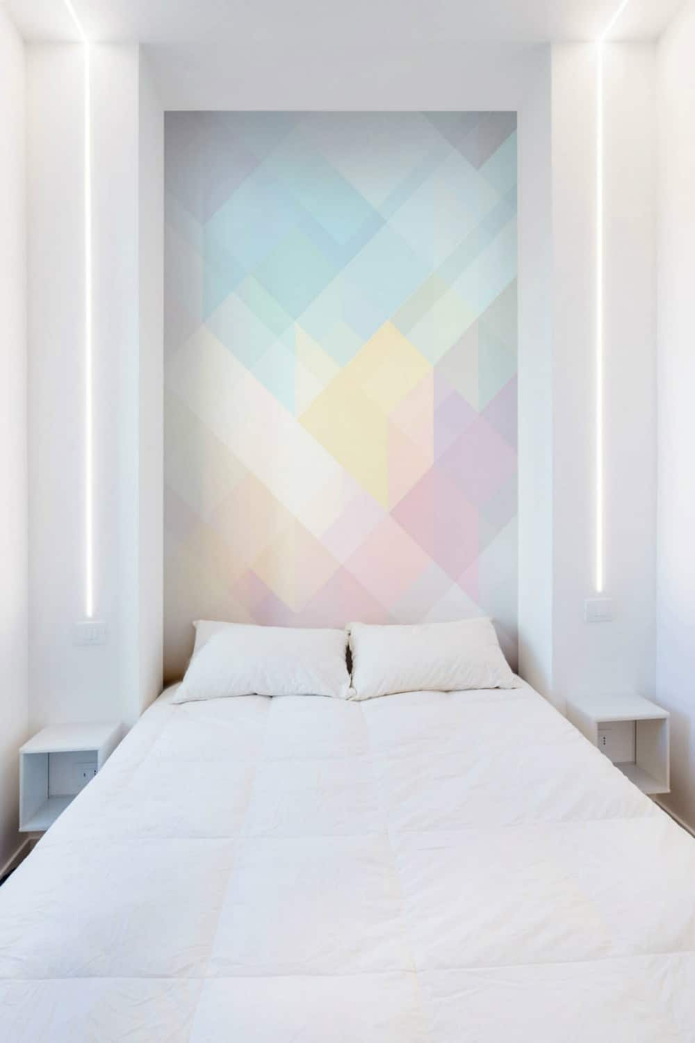 Bedroom feature wall is opalescent