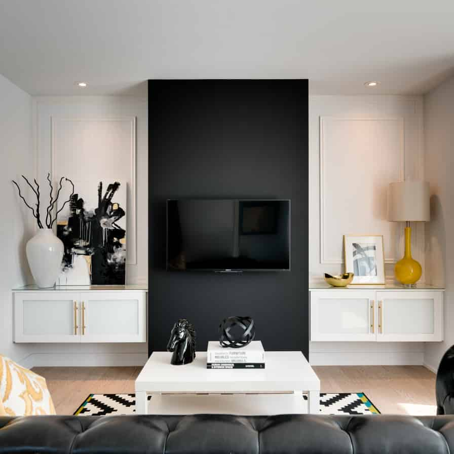 ... Black TV Wall Design