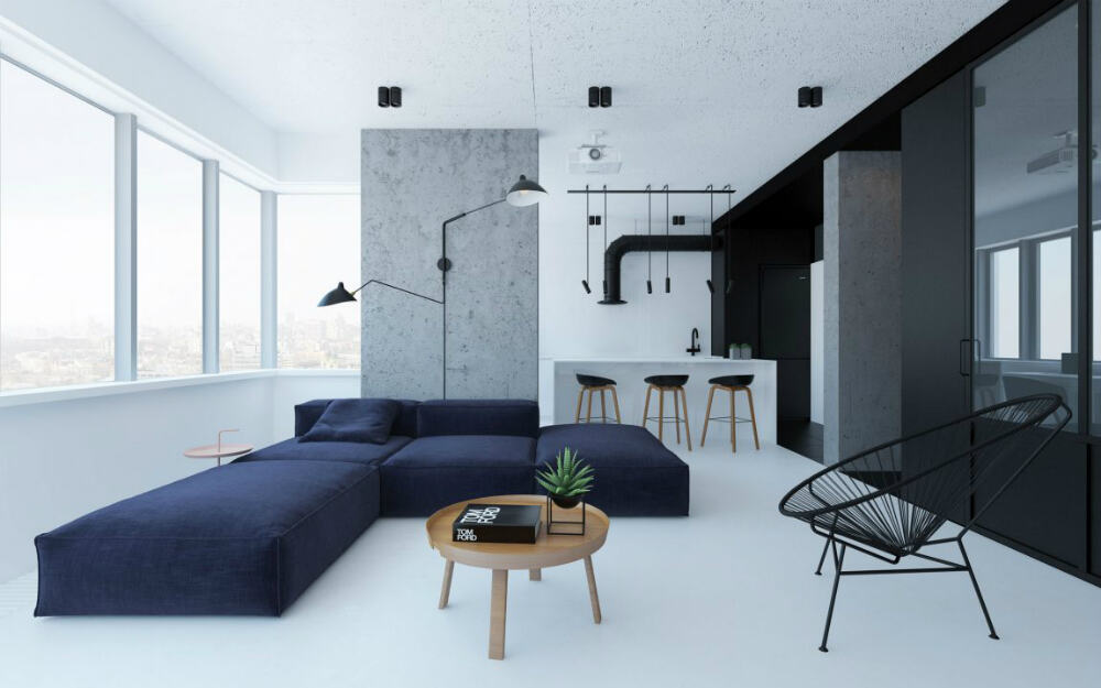 Black elements on the right inform the accents in interior