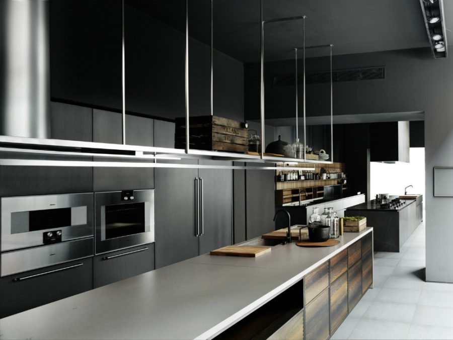 Boffi Code Kitchen with hanging storage