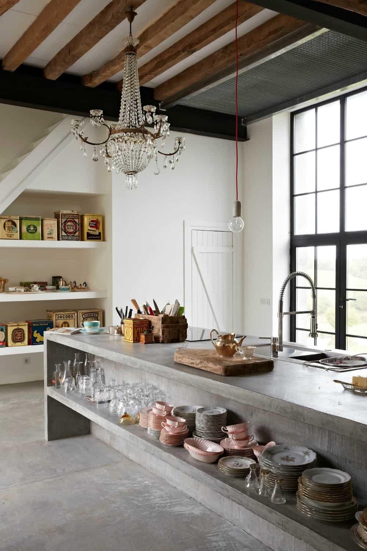 Concrete kitchen island open shelves