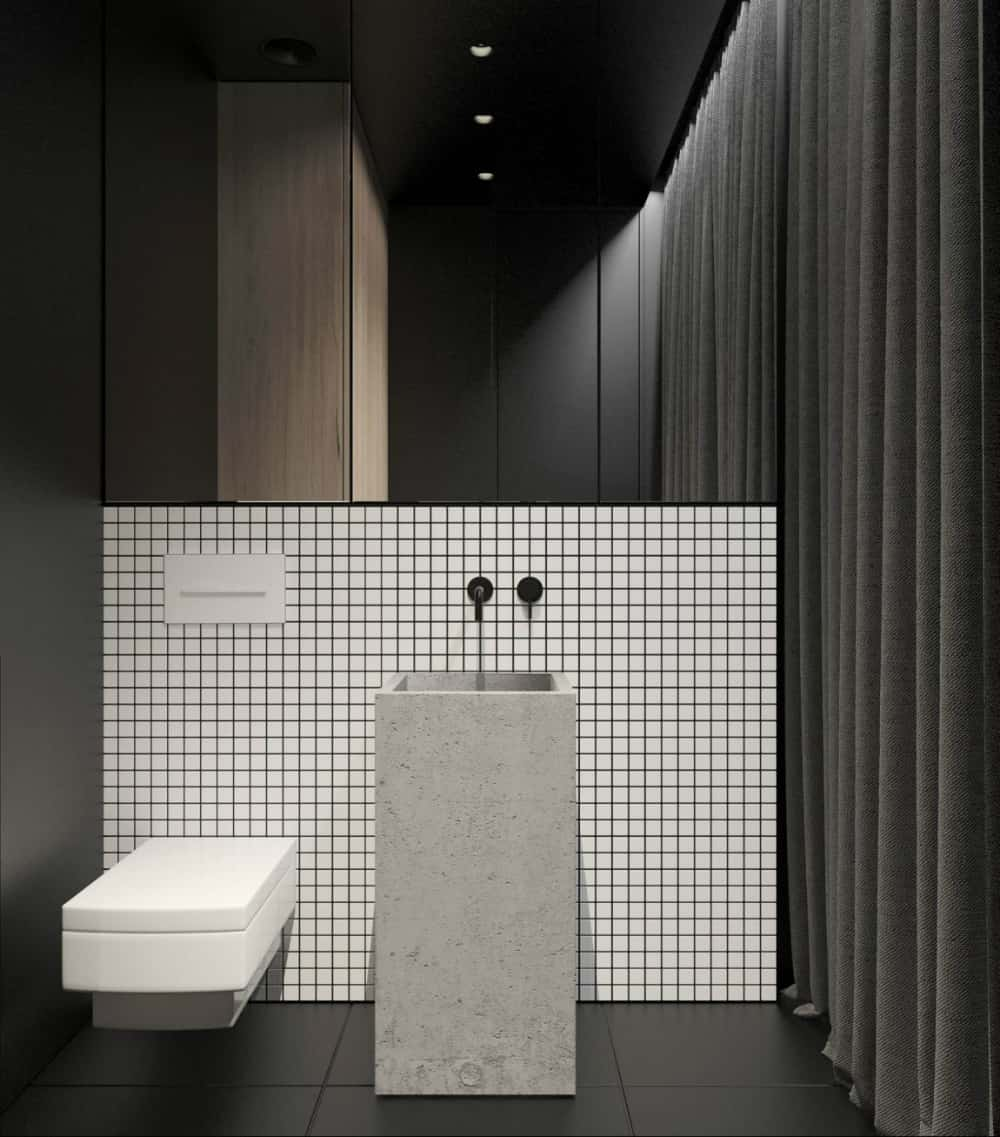 Concrete works wonders in the black and white bathroom