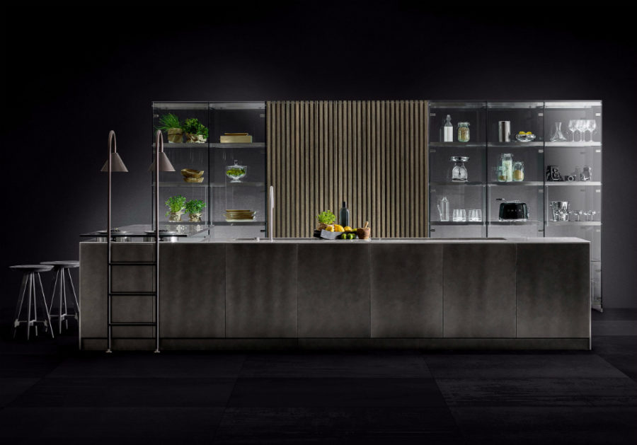 Contemporary kitchen with glass cabinets by TM Italia Cucine