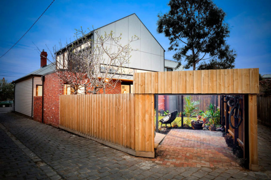 Courtyard fenced for privacy