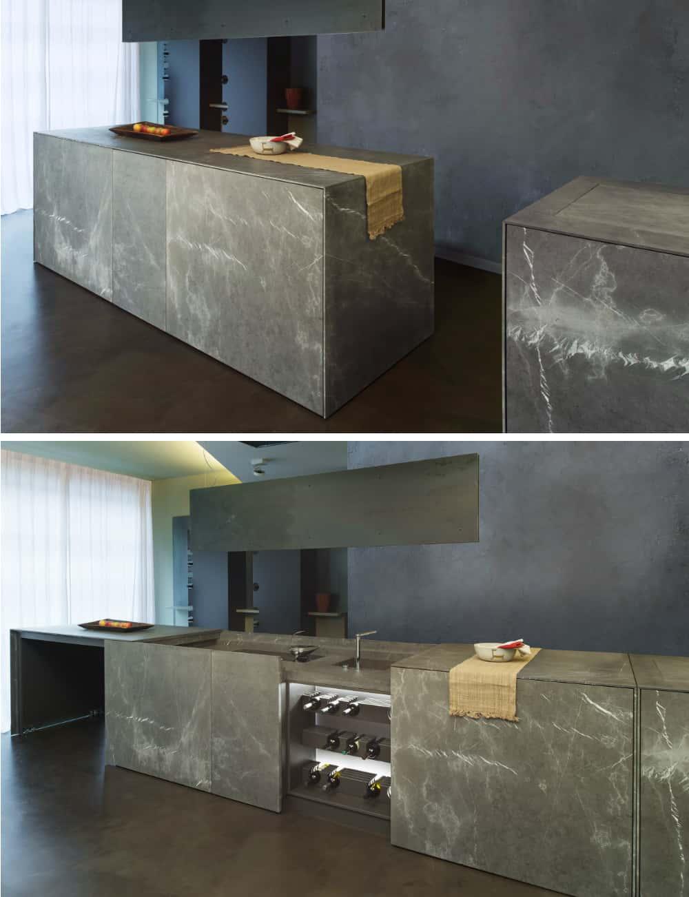 D90 extending kitchen island by TM Italia Cucine
