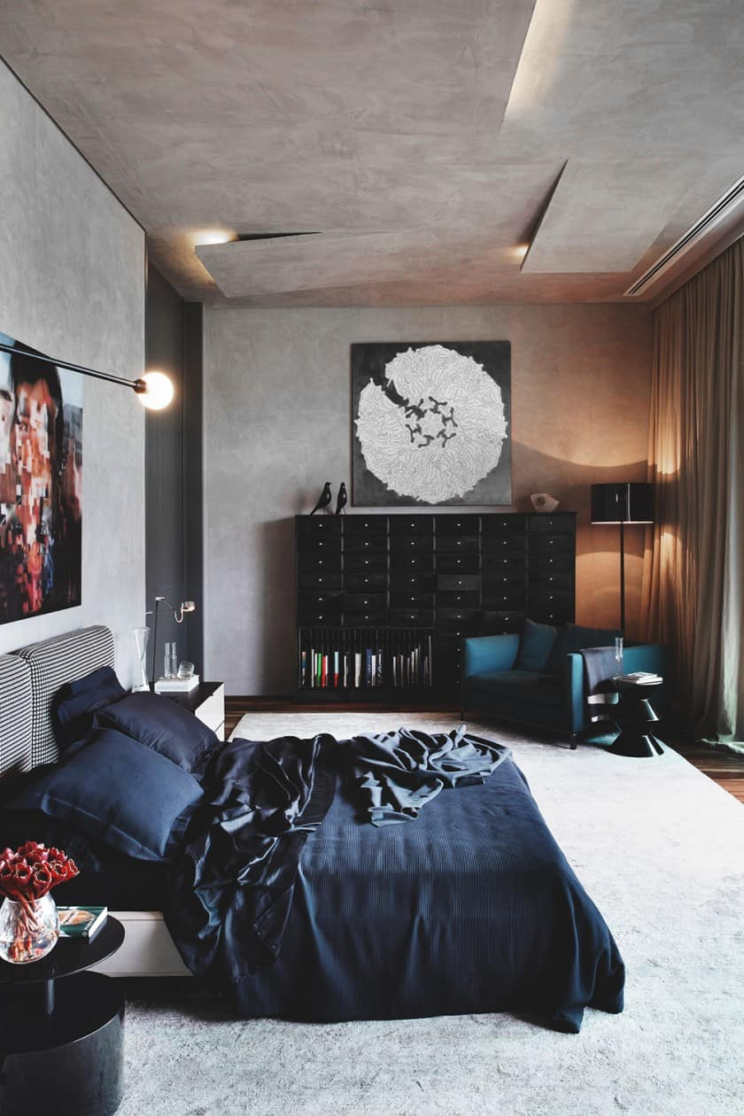 Dark stylish bedroom design