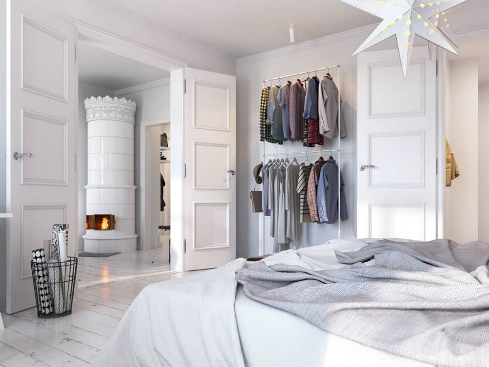 Double clothing rack in bedroom