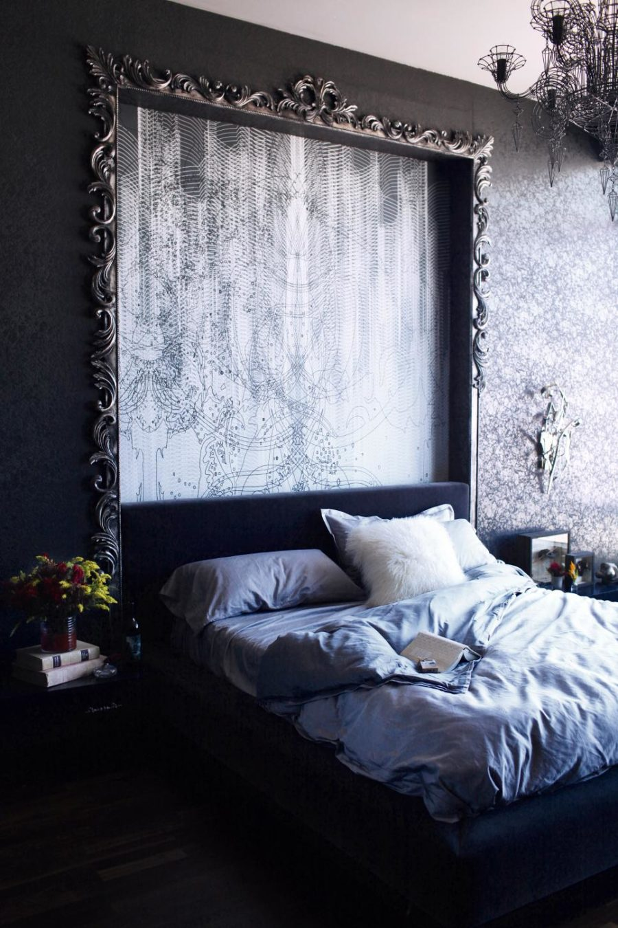 Dramatic dark bedroom by BAM Design Lab