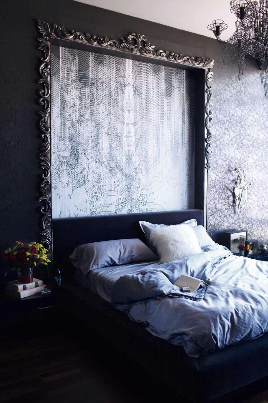Dramatic dark bedroom by BAM Design Lab