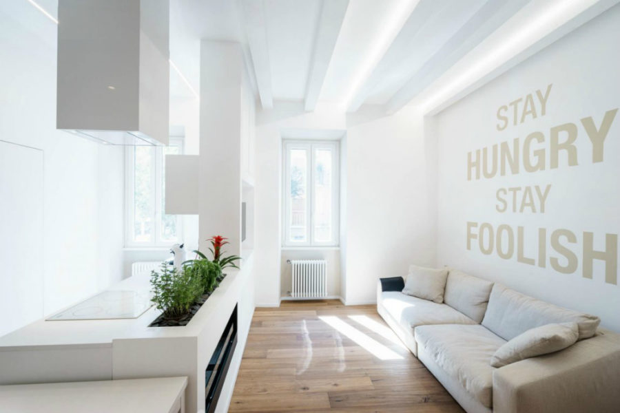 Ethereal House by Brian Factory 900x600 All White Ethereal House is a Space Efficient Apartment in Rome