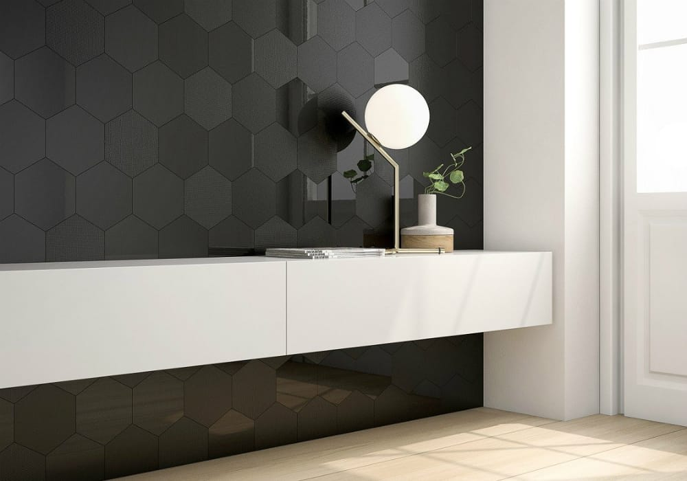 Geom Black hexagonal tile by Alea