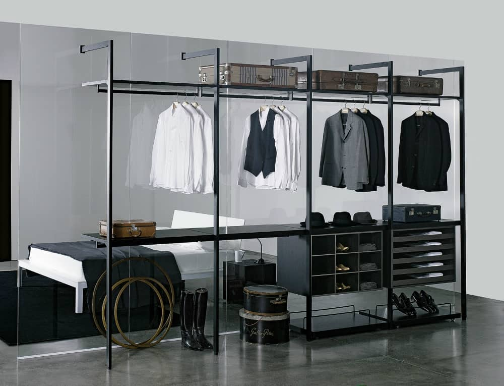 Glass divider clothes rack