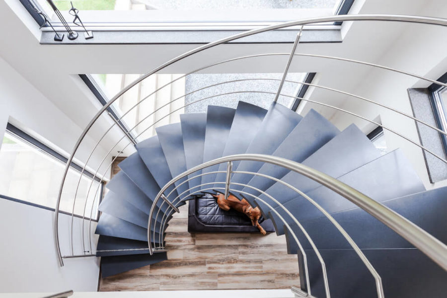 Half spiraling staircase is an interior decoration