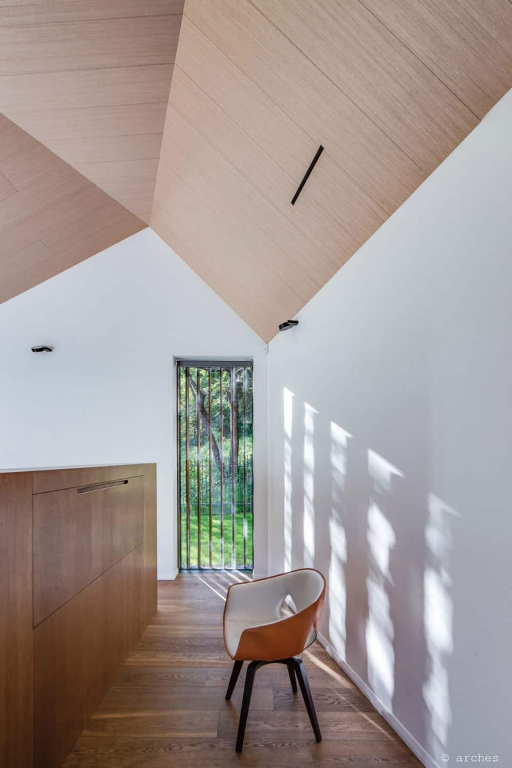 High windows allow natural illumination during the day