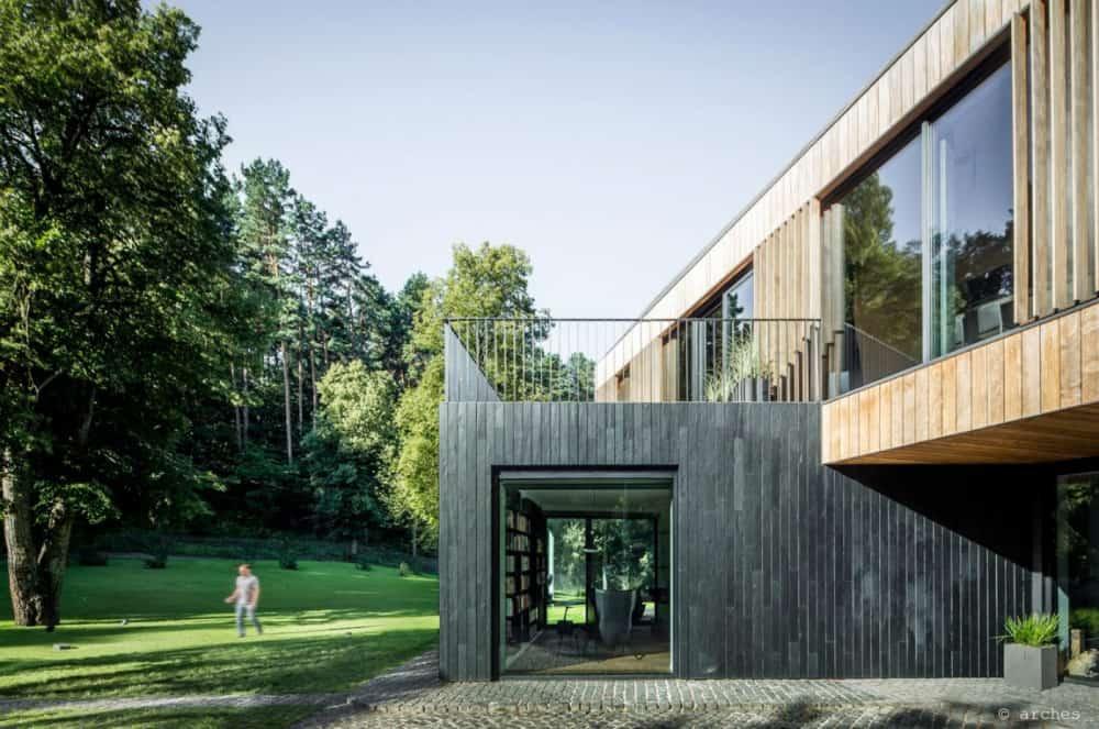 Huge modern windows allow a look inside the house