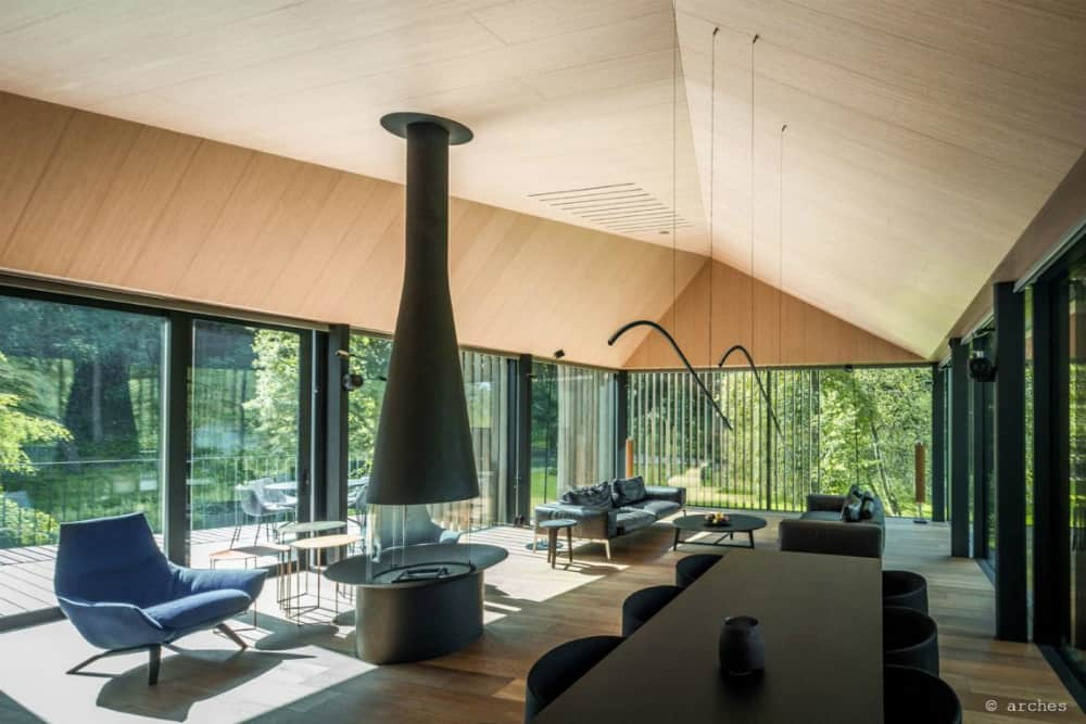 Indoors feature lots of natural wood
