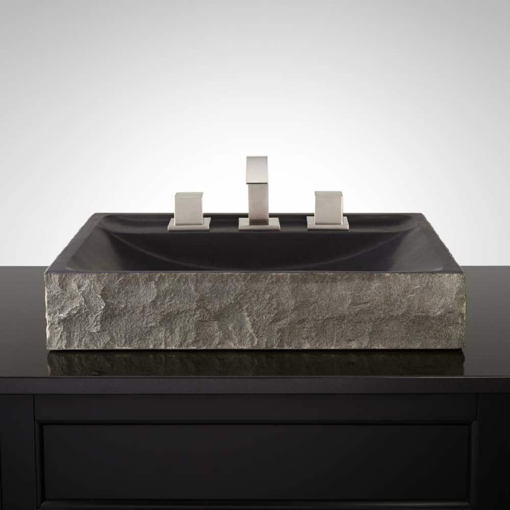 Kawena lava stone vessel sink