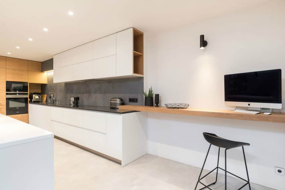 Kitchen extends into a work area