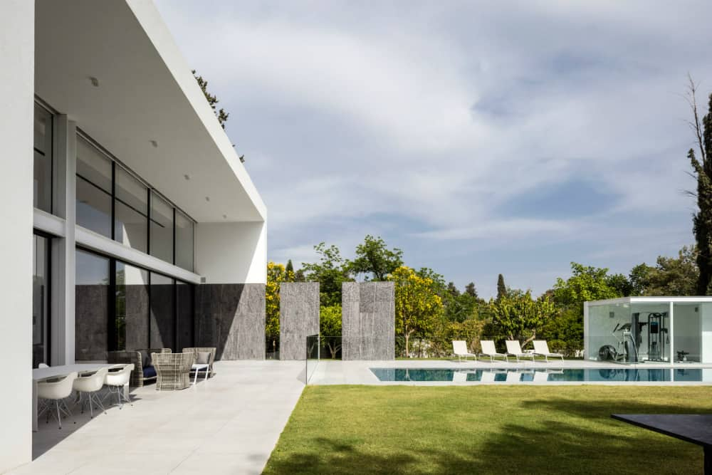 Lap pool complements the freestanding gym pavilion