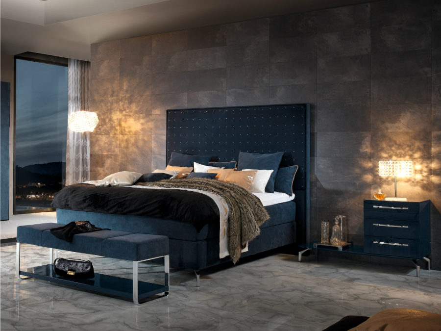 Dark Soft Bed with Tall Headboard