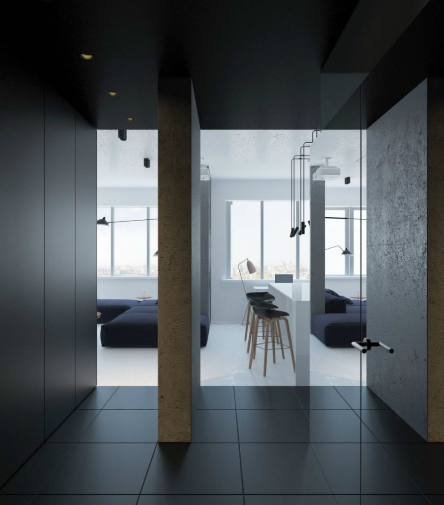 Minimalist apartment in Kiev 900x1023 Small Kiev Apartment Boasts Unusual Layout