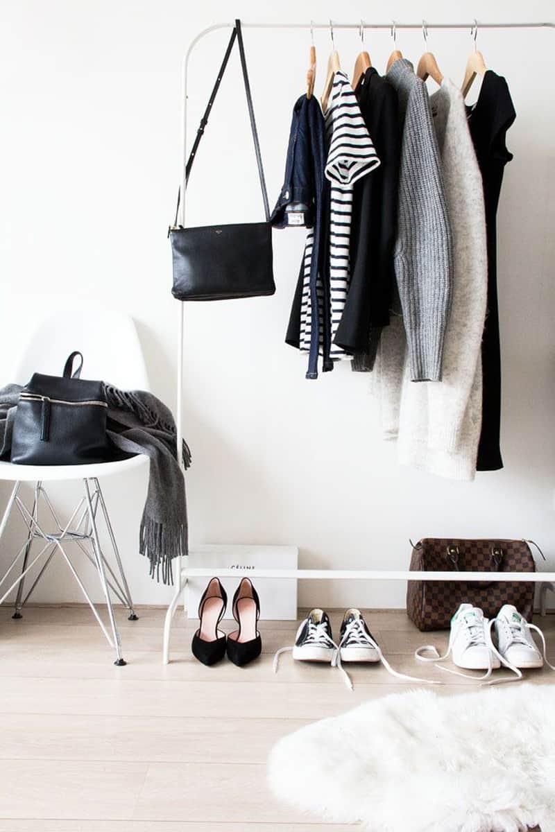 Minimalist clothing storage