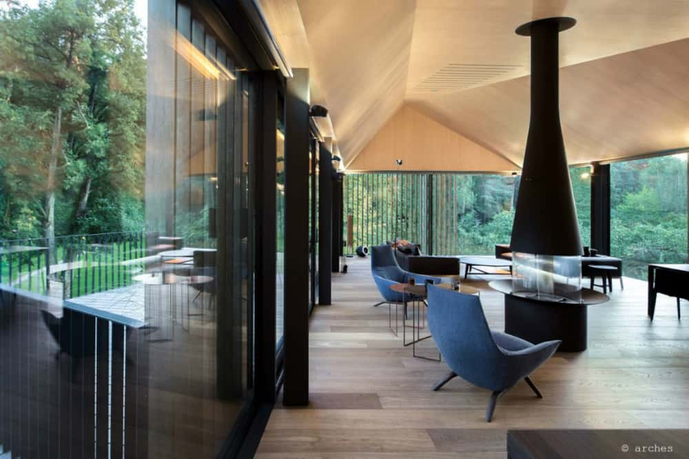 Modernist aesthetic shows in both interior design and furnishings