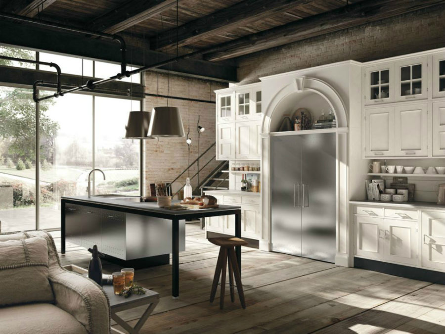 Montserrat wooden kitchen with stainless steel elements composition 03 by Marchi Cucine