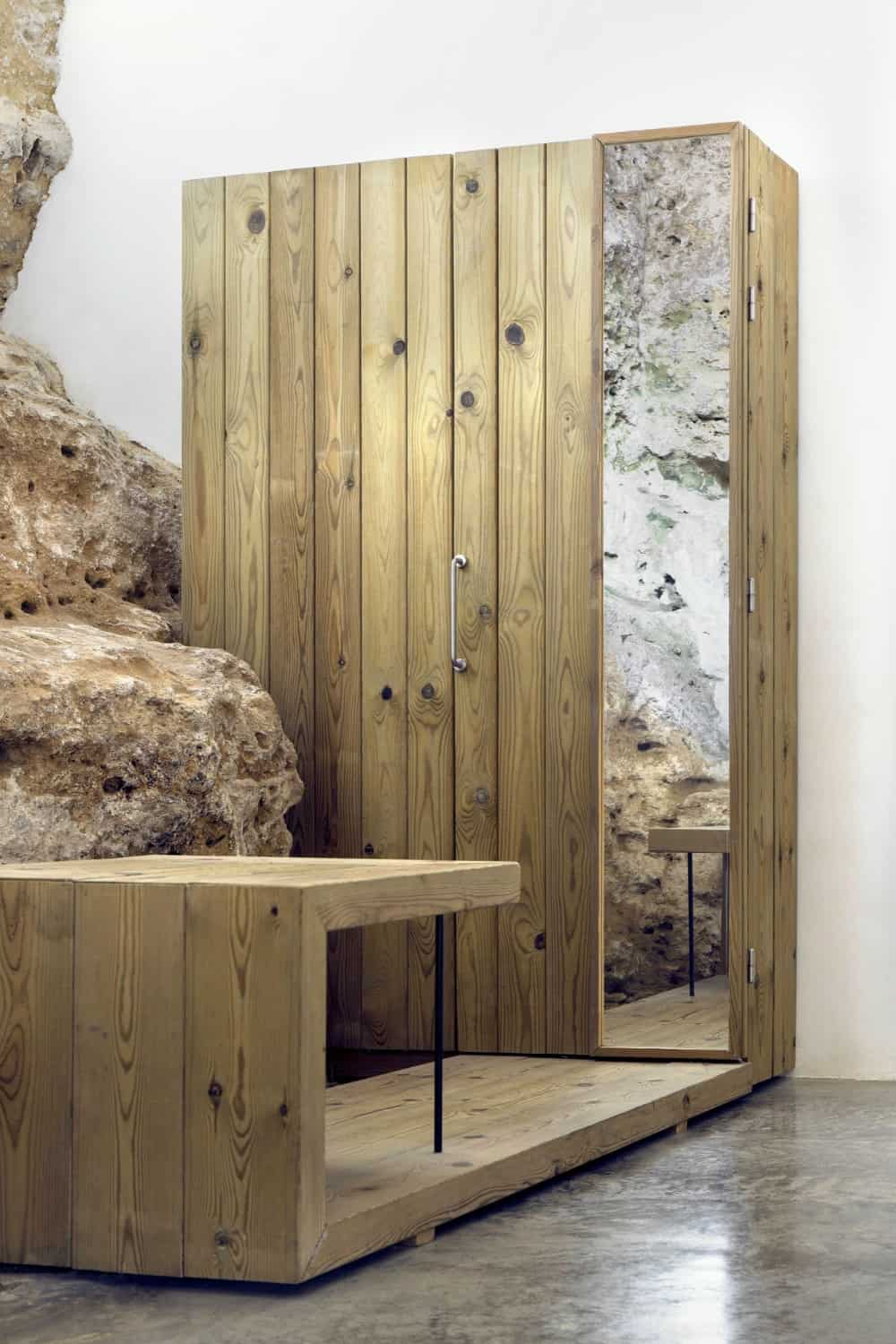 Natural wood wardrobe comes with an extension