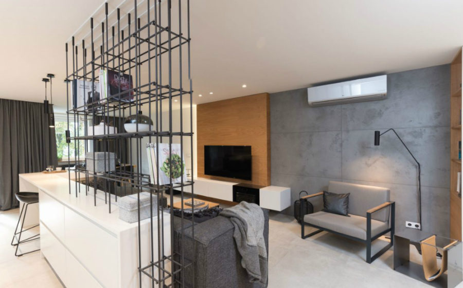 View In Gallery Open Shelving Made Of Metal Rods That Adds Industrial Vibe  To The Interior