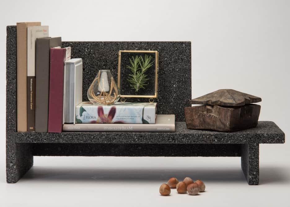 Peca shelves made from volcanic rock