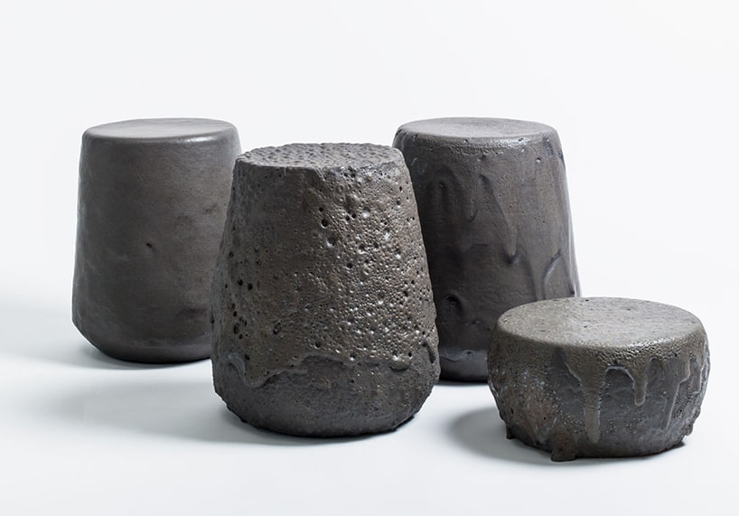 'Remolten' stool series from chilean volcanic lava
