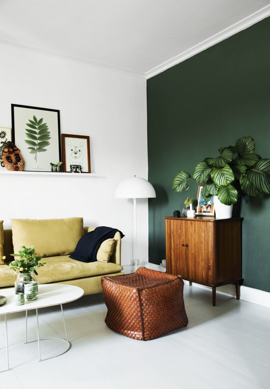 Retro chic apartment with a green color theme 900x1298 Stylish and Contemporary Interior Greenery Ideas
