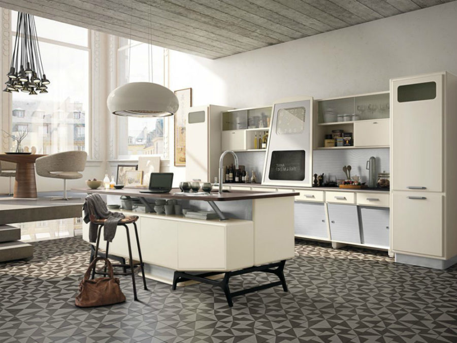 Retro-futuristic kitchen Sant Louis (composition 05) by Marchi Cucine