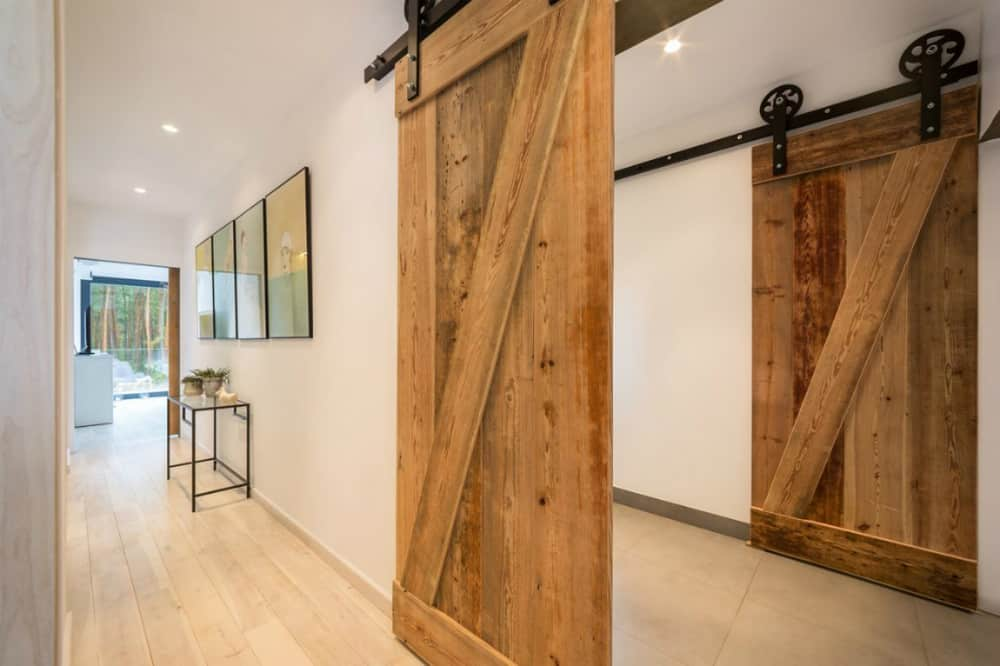 Sliding wooden doors never fail to look cool