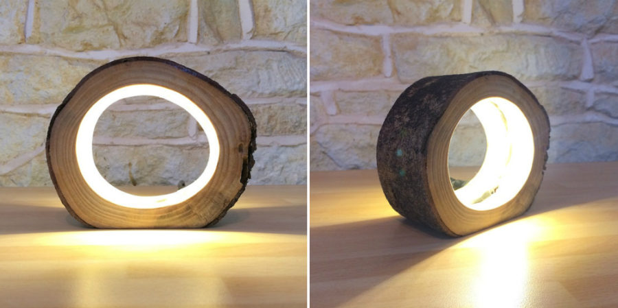 Small LED Log Light Table Lamp Desk Light