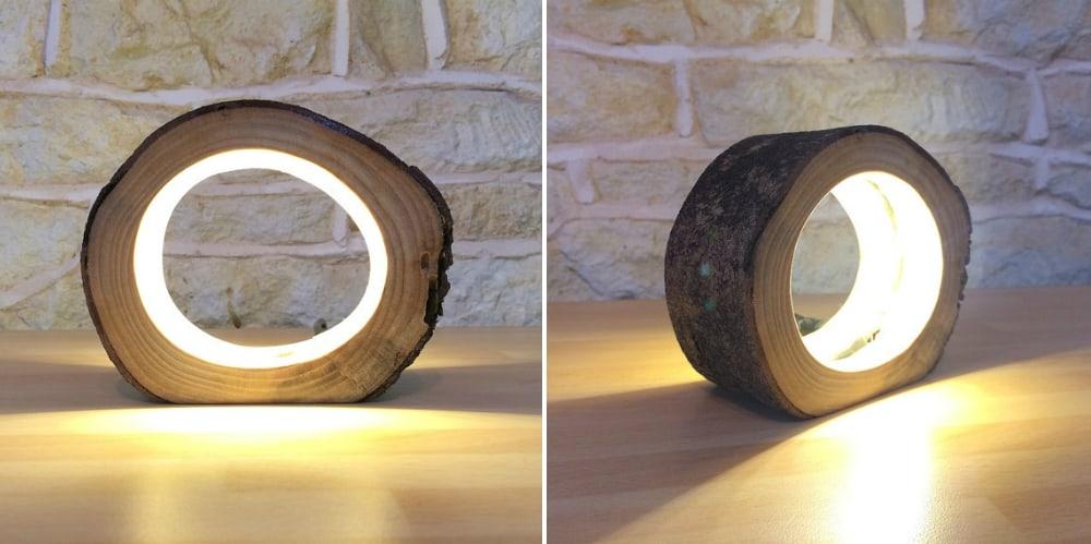 Small LED Log Light Table Lamp Desk Light