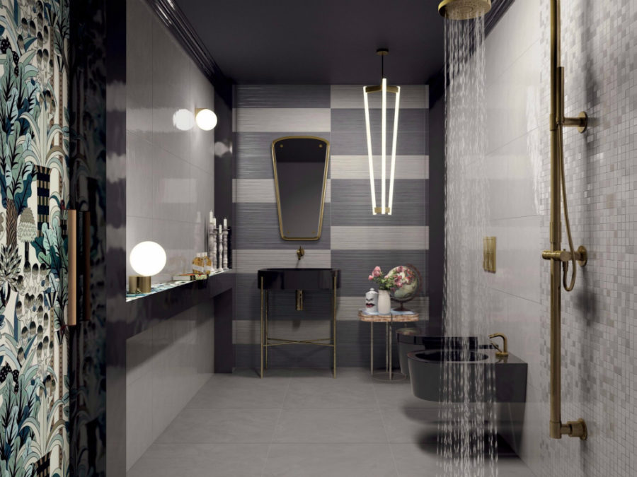 View In Gallery Stylish Tow Toned Work Tiles By Ceramiche Marca Corona  900x675 These Modern Bathroom Tile Designs Will