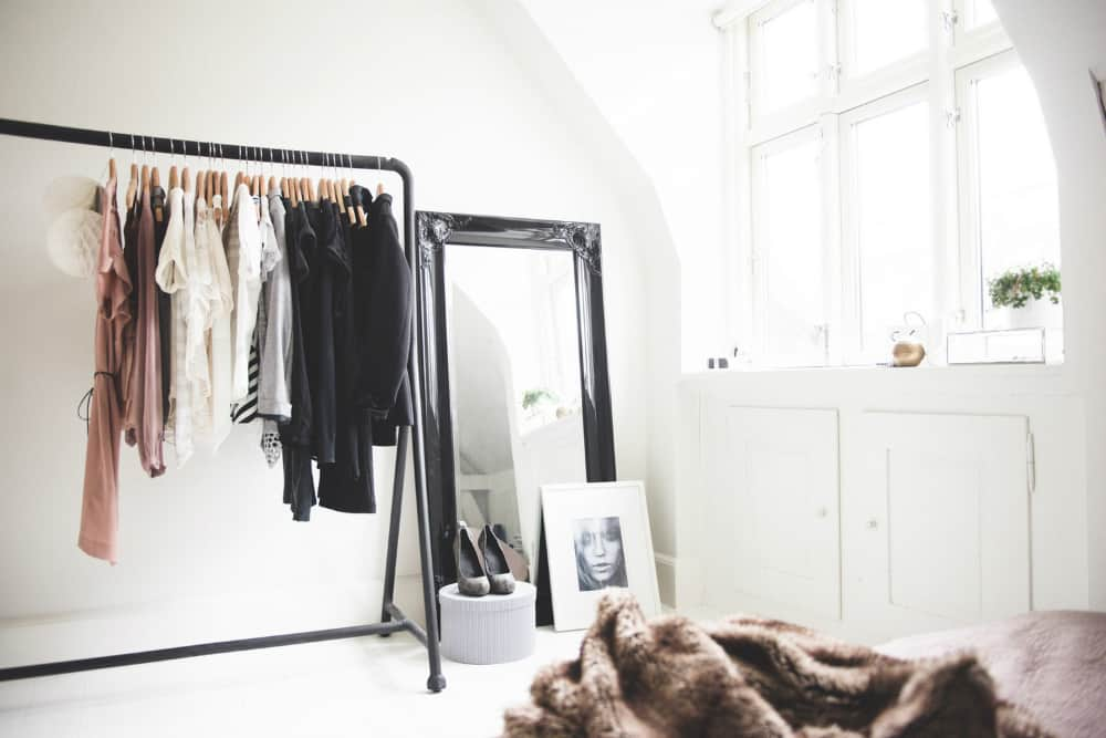Stylish bedroom clothing rack