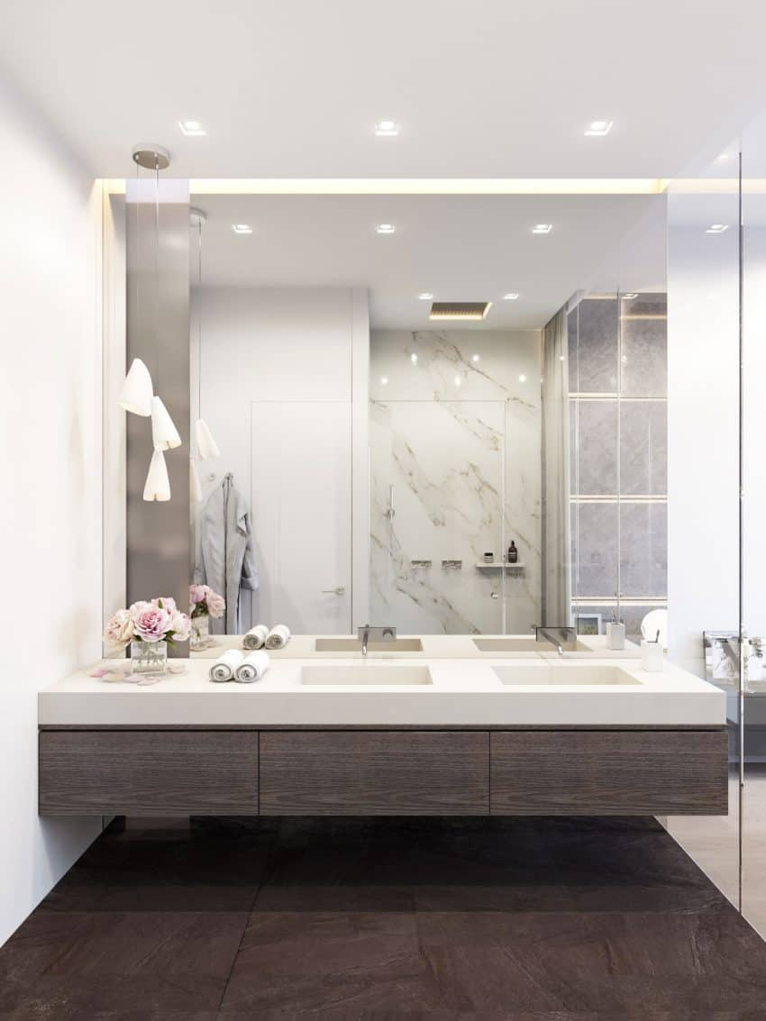 Stylish penthouse bath by Shamsudin Kerimov Architects Big Bathroom Mirror Trend in Real Interiors