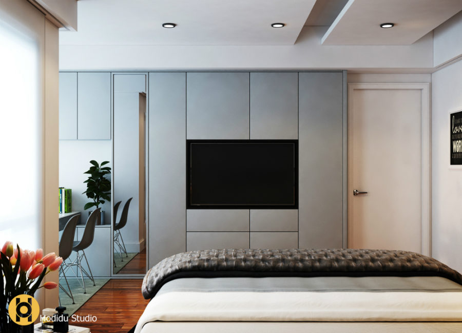 tv in bedroom ideas. View in gallery TW Bedroom  Hodidu Studio by nh D ng Ho Elegant Contemporary and Creative TV Wall Design Ideas