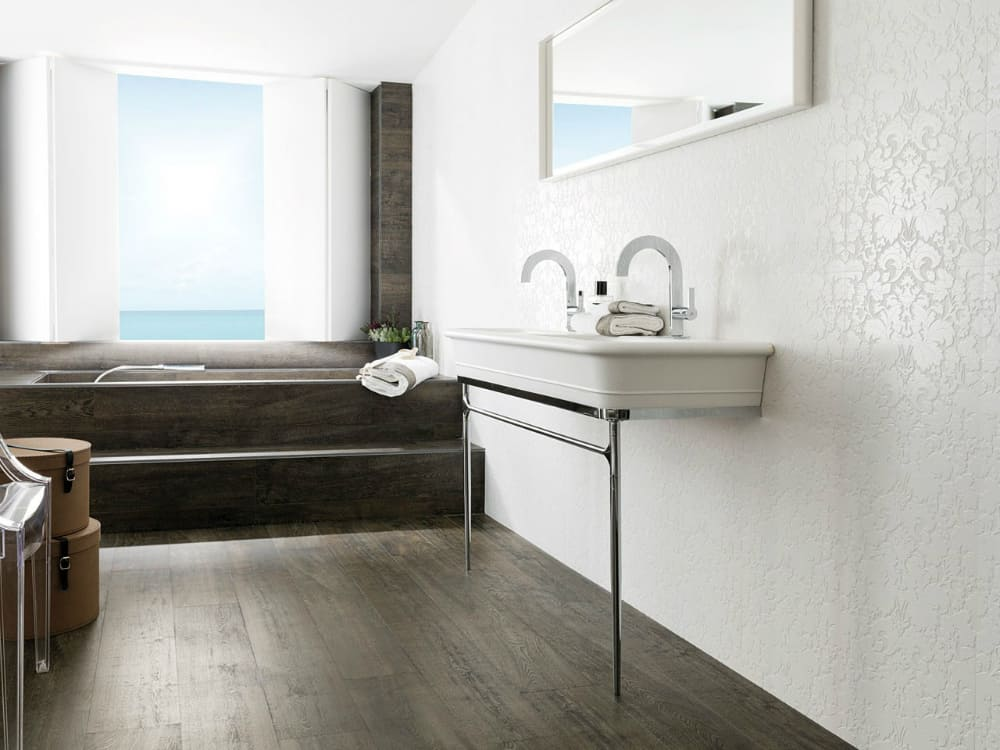Textured floral Blulebell tiles by Venis